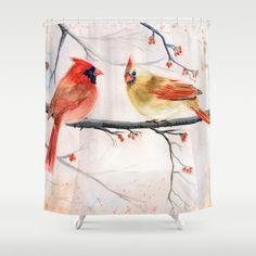 #cardinalbirds #watercolorpainting Just The Two Of Us by Melly Terpening  Customize your bathroom decor with unique shower curtains designed by artists around the world. Made from 100% polyester our designer shower curtains are printed in the USA and feature a 12 button-hole top for simple hanging. The easy care material allows for machine wash and dry maintenance. Curtain rod, shower curtain liner and hooks not included. Dimensions are 71in. by 74in.