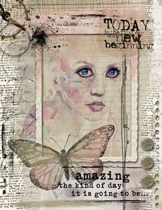 Art Journaling - New Beginning - Scrap Art Studio Gallery. I really like the pale pinks and grey palette. Mixed Media Journal, Mixed Media Collage, Mixed Media Canvas, Art Journal Pages, Art Journals, Junk Journal, Altered Books, Altered Art, Art Journal Inspiration