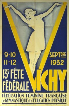 Vichy Female Gymnastics, 1932 - original vintage poster by B Pouzadoux listed on AntikBar.co.uk