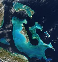Wonders of the world: This stunning photo of the Bahamas was taken by satellite from thousands of miles away