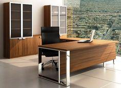 Supra Executive Desk and Storage Cupboards in Walnut Veneer