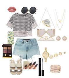 """""""Mall trip with the girls"""" by paytton-white on Polyvore featuring T By Alexander Wang, River Island, LULUS, Kate Spade, Charlotte Russe, Allurez, Lime Crime, Tom Ford and Gucci"""