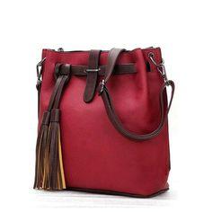 HISUELY Hot Sale New Women PU Leather Handbags Tassel Fashion Designer  Black Bucket Vintage Shoulder Bags b9103bd2fa27f