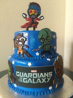 Guardians of the Galaxy Cake 6th Birthday Cakes, 4th Birthday Parties, Dad Birthday, Cupcake Party, Party Cakes, Beautiful Cakes, Amazing Cakes, Marvel Cake, Avenger Cake