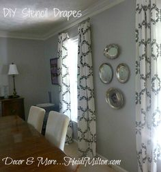 Stencil your own custom curtains. Our Small Acanthus Trellis Stencil was used on these drapes. GREAT DIY project and easy to do!