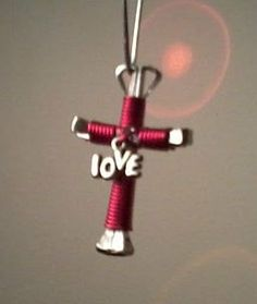 Valentines Day LOVE Red Horsheshoe Nail Cross Keychain by HHreflections, $7.00
