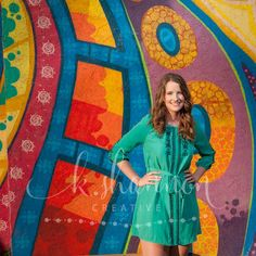 Love the colorful background! Downtown Houston, Senior Girl. Photography by K. Shannon Creative
