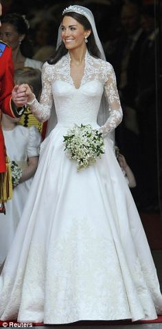 Kate Middelton wearing Sarah Burton for Alexander McQueen at her April, 2011 wedding to Prince William. REALLY loving the lace and that neck line lately... and i'm not a lace kinda girl...