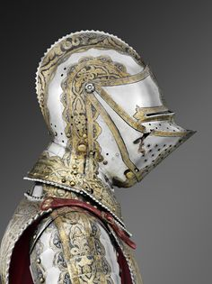 Parts of a great garniture, for man and horse, that included over five hundred pieces and believed to have belonged to the Holy Roman Emperor Maximilian II (ruled 1564 to Medieval Knight, Medieval Armor, Medieval Fantasy, Armadura Medieval, Knight In Shining Armor, Knight Armor, Aesthetic Objects, A Knight's Tale, Dark Tattoo