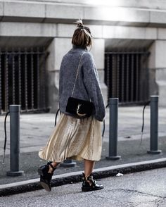 Golden skirt with balenciaga ceinture boots and ysl bag ♥️