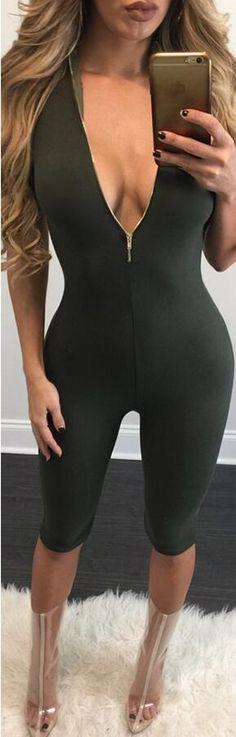 Deep V-neck Zipper Pure Color Both Side Short Jumpsuit