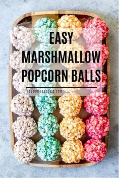 Children and grown-ups alike will love these easy Marshmallow Popcorn Balls that you can make with all the colors of the rainbow! They are perfect for Spring or just about any holiday and so much fun to make! Gourmet Popcorn, Popcorn Snacks, Flavored Popcorn, Popcorn Recipes, Snack Recipes, Dessert Recipes, Popcorn Balls Recipe Halloween, Easy Popcorn Balls Recipe, Candy Popcorn