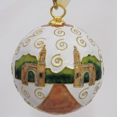 Officially licensed Indiana University, handcrafted, 24k gold plated cloisonne ornament - www.KittyKeller.com