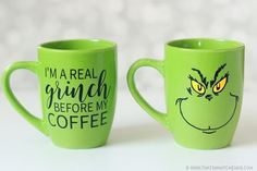 Grinch Coffee Mugs Grinch Mug SVG Files - That's What {Che} Said. Calling all Coffee, Tea & Hot Chocolate Grinch Loving friends! This is the project for you! Make your own guys with these cut files + tutorial! Painted Coffee Mugs, Cute Coffee Mugs, Cute Mugs, Funny Mugs, My Coffee, Coffee Cups, Coffee Art, Merry Christmas, Christmas Coffee