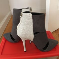 Steve Madden Pumps Grey and White suede and leather cut out pumps. Brand new. Make offers!!! Steve Madden Shoes Heels