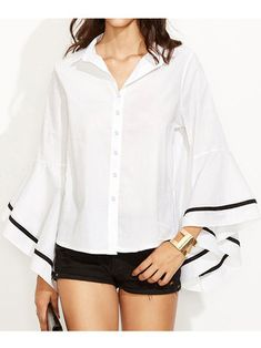 Only US$17.99 , shop ZANZEA S-5XL Women Top Bell Sleeve Button Formal Blouse at Banggood.com. Buy fashion Blouses & Shirts online.