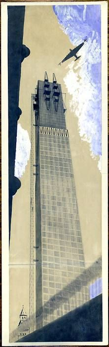 Ivan Leonidov, Tower of the Commisariat for Heavy Industry in the Red Square, Moscow, Russia, 1934
