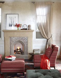Moroccan tile in the fireplace, design by Thomas Hamel, photo by William Abranowicz for House Beautiful