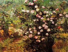 Vincent van Gogh   Blooming Rose Bush - 1889  Medium: Painting - oil on canvas   Location: National Museum