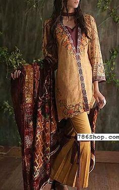 Punjabi Fashion, Boho Fashion, Designer Party Wear Dresses, Linen Suit, Pakistani Designers, Pakistani Dresses, Chiffon Dress, Dress Collection, Mustard