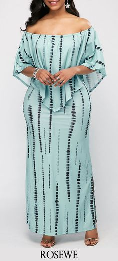 Printed Off the Shoulder Side Slit Overlay Dress