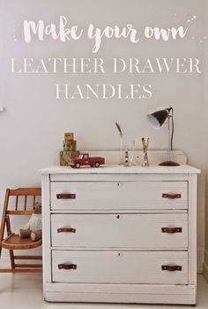 Vintage Whites Blog: Boys Bedroom Makeover and DIY Leather Handles