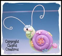 Becky's Polymer Clay Springtime Snail MAGNET by clayfulcreations