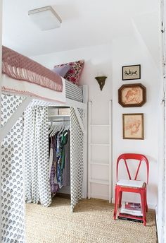 tiny space with lofted bed