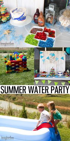 Summer Water Party Ideas - including DIY decorations, crafts, activities, and even a great cupcake recipe idea! Water Birthday Parties, Summer Birthday, Birthday Fun, Birthday Party Themes, Birthday Ideas, Carnival Birthday, Water Theme Birthday, Kids Water Party, Hawaiian Birthday