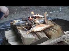 """UPSIDE DOWN FIRE. Another video tutorial about the """"upside down fire"""". I promise! Have done this myself multiple times now and very effective despite going against everything I have ever learned about building a fire!"""