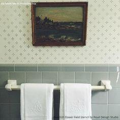 10 Bathroom Makeover Ideas using Stencils - Boring Bathroom Be Gone! | Royal Design Studio Stencils