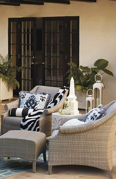 The rich, uninterrupted texture of the Madison Seating conveys the carefree beauty of cushionless living in all-weather wicker. | Frontgate: Live Beautifully Outdoors