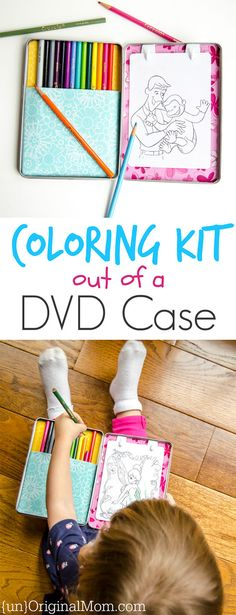 Case Coloring Kit Upcycle a DVD case into a portable coloring kit - so fun!Upcycle a DVD case into a portable coloring kit - so fun! Toddler Fun, Toddler Activities, Activities For Kids, Toddler Activity Bags, Hobbies For Kids, Kits For Kids, Cheap Hobbies, Dvd Case Crafts, Fun Crafts