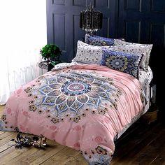 Cotton Aztec Duvet Cover Fantasy Bedroom, Home Bedroom, Bedroom Design Inspiration, Comfortable Bedroom, Bedroom Makeover, Home Decor Styles, Decor Essentials, Home Decor, Grey Comforter Bedroom