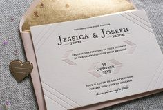 Steel Petal Press | Modern Linear | Blush and Gold wedding invitation | http://steelpetalpress.com