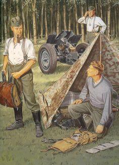 German 32 cm PAK gun crew during maneuvers.