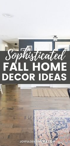 Instead of going overboard with bright colors for fall, we're using a color scheme of purple, blue and pale orange. You'll find lots of florals with a few pumpkins mixed in for a sophicticated take on fall decor! Table Setting Inspiration, Rug Inspiration, Fall Home Decor, Autumn Home, Affordable Rugs, Pale Orange, Joyful, Seasonal Decor, House Tours