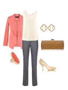 Coral work attire - via Polyvore