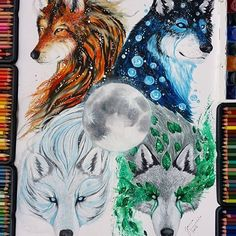 The Element Wolves  By @scandy_girl . Which one you like more ? _ #ProArtists