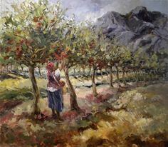 Aviva Maree. Picking Apples Naive, South African Artists, Country Scenes, Faeries, Apples, Harvest, Artwork, Landscapes, Painting