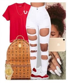 A fashion look from August 2017 featuring high waisted white skinny jeans, 18 karat gold watches and mcm mens backpack. Browse and shop related looks. Nike Outfits, Swag Outfits For Girls, Cute Comfy Outfits, Teenage Girl Outfits, Cute Outfits For School, Cute Casual Outfits, Teen Fashion Outfits, Teenager Outfits, Stylish Outfits