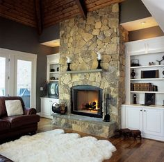 Traditional Family Room Rock Fireplace Built In Cabinets Design, Pictures, Remodel, Decor and Ideas Stone Fireplace Designs, Fireplace Ideas, Fireplace Makeovers, Fireplace Pictures, Fireplace Stone, Fireplace Mantles, Fireplace Remodel, Cabin Fireplace, Mantels