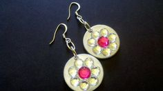 Silnada Pink & Crystal Circle Earrings by Jewellori on Etsy, $10.00