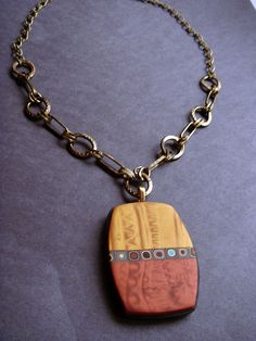Handmade Mix Media OOAK Mica Shift and Klimt/Retro Cane Polymer Clay Necklace by Creative Art Center, via Flickr