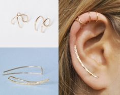 Modern Minimalist Set of 3 - Ear Climber, Smooth Ear Sweeps, Double Ear Cuff, Earring Climbers Criss Cross Ear Cuff, Gold Crawlers - Piercings Ear Crawler Earrings, Cuff Earrings, Crystal Earrings, Diamond Earrings, Crystal Jewelry, Silver Jewelry, Clip On Earrings, Silver Earrings, Cartilage Ring