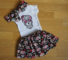 LEARN MORE Little sugar skull rockabilly punk rock outfit/ bodysuit Tattoo with headband In sizes Newborn 3 months 6 months 9 months 12 months