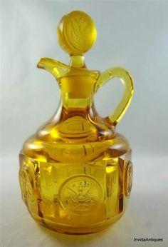 Fostoria Coin Amber Vintage Cruet Condiment Oil & Coin Stopper Bottle 3-Seams
