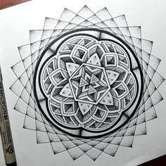 My Most Favorite Geometric Tattoo Geometric Mandala Tattoo, Geometric Tattoo Design, Mandala Tattoo Design, Geometric Designs, Mandala Art, Geometric Shapes, Geometric Tattoos, Sacred Geometry Symbols, Sacred Geometry Tattoo