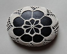 RESERVED, Art  Mixed Media, Crochet Lace Stone, Original, Handmade, Table Decoration, Art Object, Collectibles.  via Etsy.