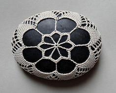 RESERVED, Art Mixed Media, Crochet Lace Stone, Original, Handmade, Table…